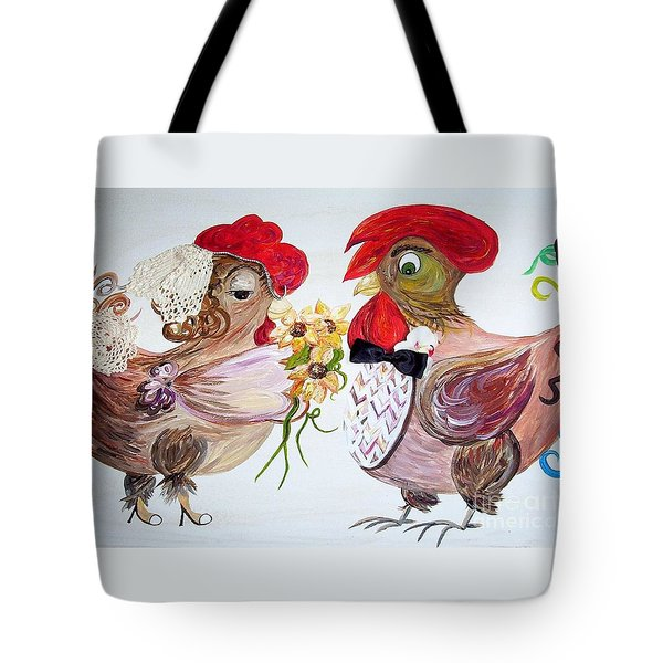 Tote Bag featuring the painting Calling All Chicken Lovers Say I Do by Eloise Schneider