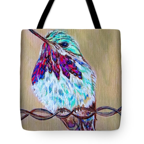 Tote Bag featuring the painting Calliope On The Fence by Ella Kaye Dickey