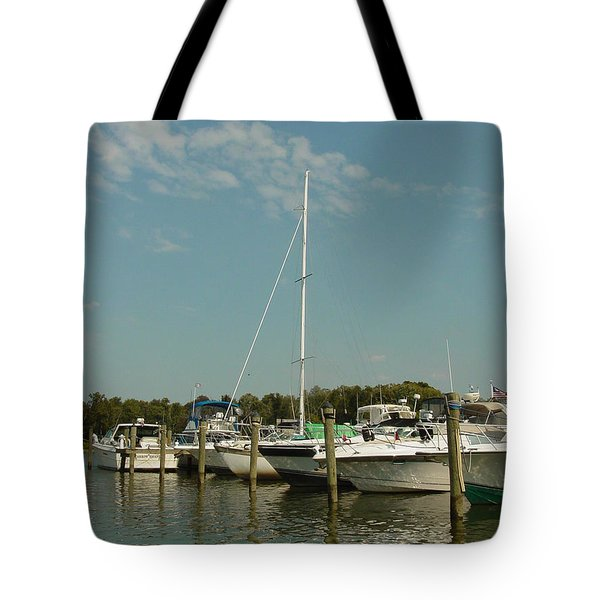 Tote Bag featuring the photograph Calm Day At The Marina by Dorothy Maier