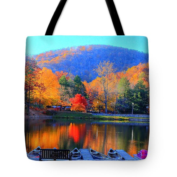 Calm Waters In The Mountains Tote Bag