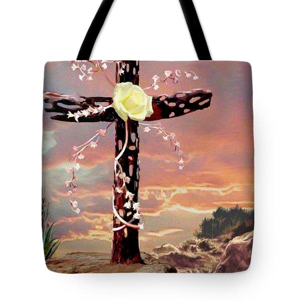 Calvary Cross Tote Bag by Ron Chambers