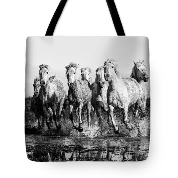 Camargue Horses At The Gallop Bw Tote Bag