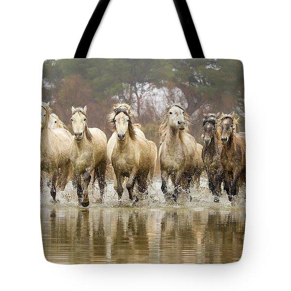 Camargue Horses At The Gallop Tote Bag