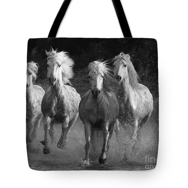 Camargue Horses Running Tote Bag by Carol Walker