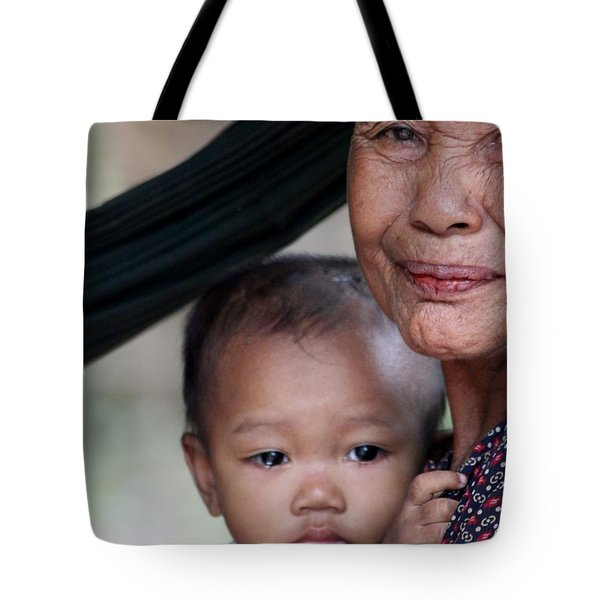 Tote Bag featuring the photograph Cambodian Grandmother And Baby #3 by Nola Lee Kelsey