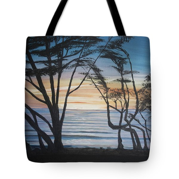Tote Bag featuring the painting Cambria Cypress Trees At Sunset by Ian Donley