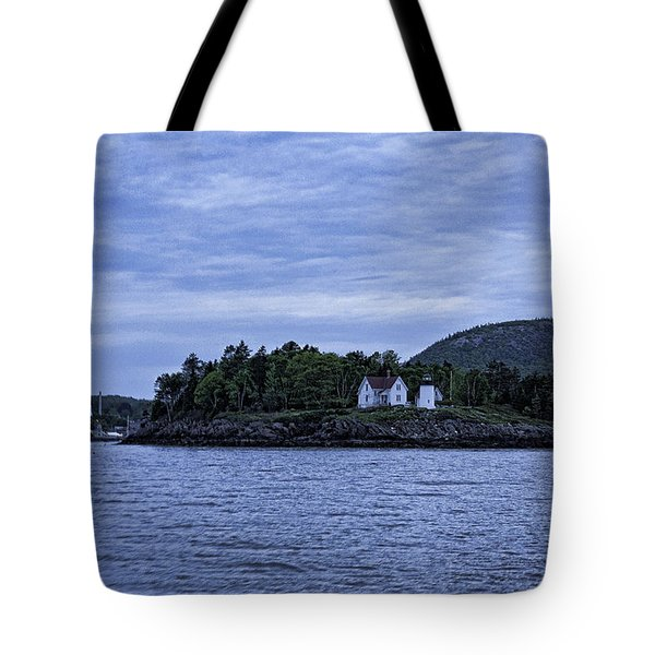 Camden Twilight N Curtis Island Light House Tote Bag by Daniel Hebard