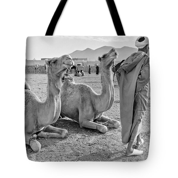 Tote Bag featuring the photograph Camel Market, Morocco, 1972 - Travel Photography By David Perry Lawrence by David Perry Lawrence