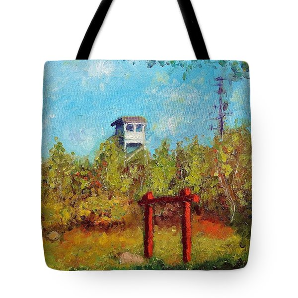 Camel Top Fire Tower Tote Bag