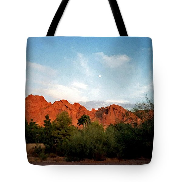 Camelback Mountain And Moon Tote Bag