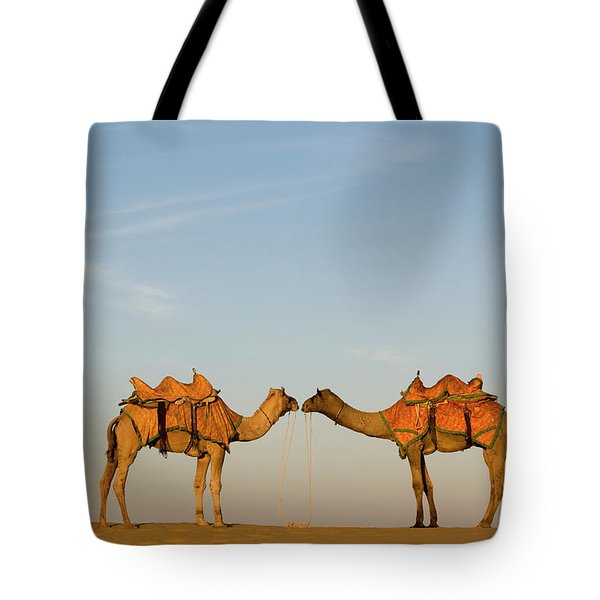 Camels Stand Face To Face In The Thar Tote Bag