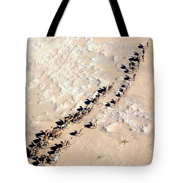 Tote Bag featuring the photograph Camels Walking In Desert by Helge