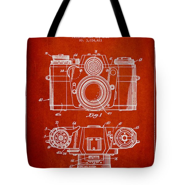 Camera Patent Drawing From 1962 Tote Bag by Aged Pixel