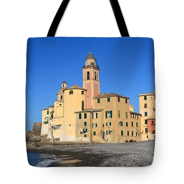 Tote Bag featuring the photograph Camogli Seaside And Church by Antonio Scarpi