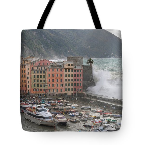 Tote Bag featuring the photograph Camogli Under A Storm by Antonio Scarpi