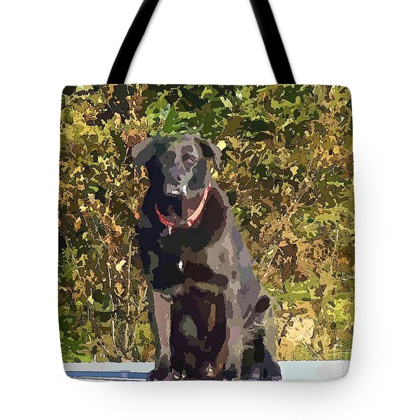 Camouflage Labrador - Black Dog - Retriever Tote Bag by Barbara Griffin