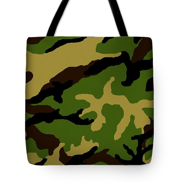 Camouflage Military Tribute Tote Bag by Roz Abellera Art
