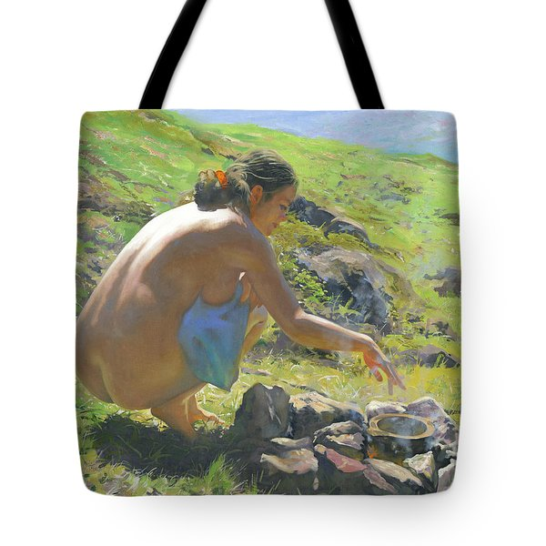 Camp-fire At The Mountains Tote Bag