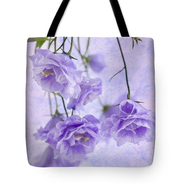 Campanella Blossoms Suspended - Macro Tote Bag by Sandra Foster