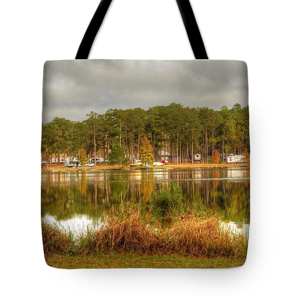 Campers Across The Lake Tote Bag