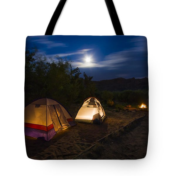 Campfire And Moonlight Tote Bag by Adam Romanowicz