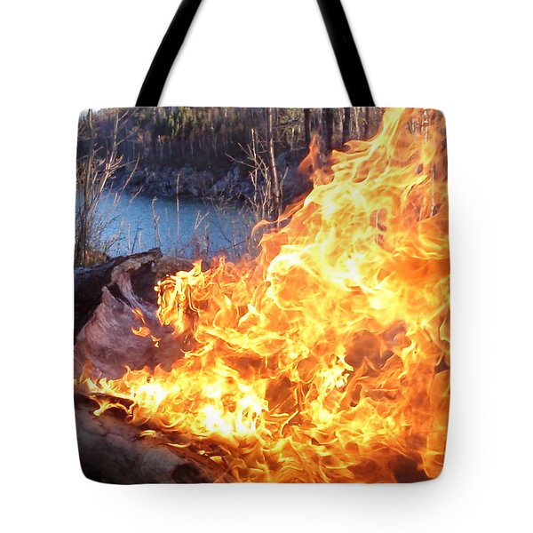 Tote Bag featuring the photograph Campfire by James Peterson