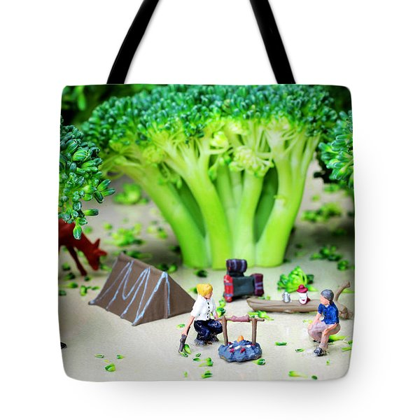 Camping Among Broccoli Jungles Miniature Art Tote Bag by Paul Ge