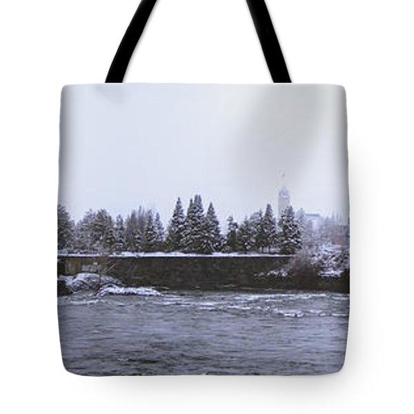 Canada Island And Spokane River Tote Bag by Daniel Hagerman