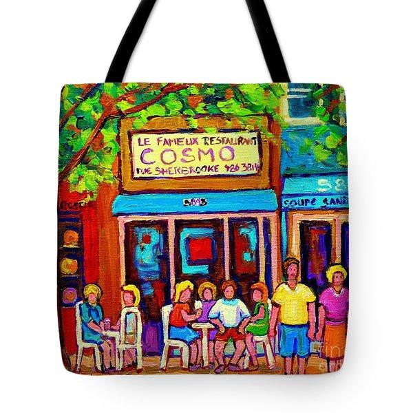 Canadian Artists Montreal Paintings Cosmos Restaurant Sherbrooke Street West Sidewalk Cafe Scene Tote Bag by Carole Spandau