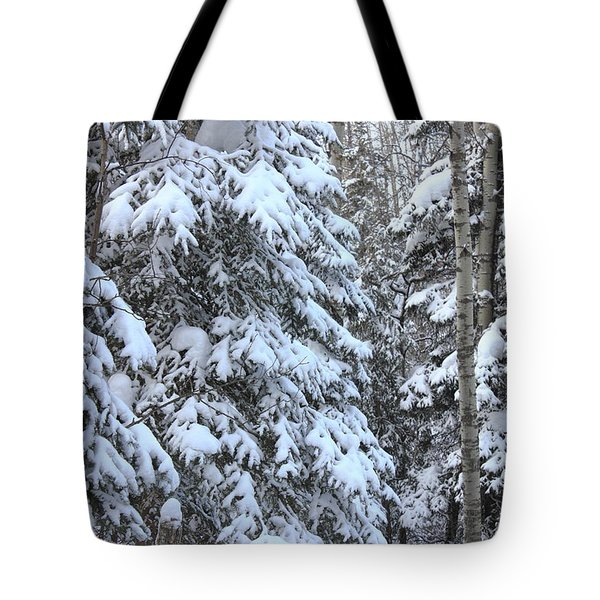 Canadian Forest - Winter Snowfall Tote Bag