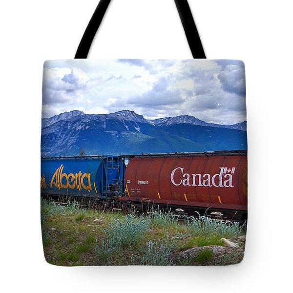Canadian Freight Train In Jasper #2 Tote Bag