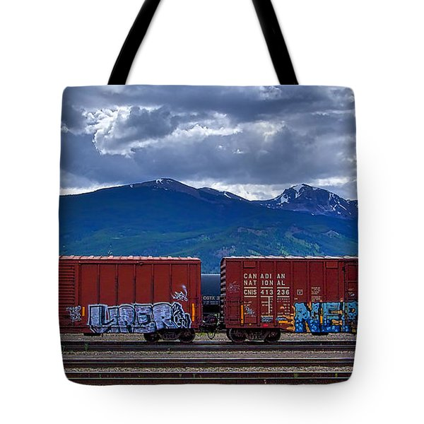 Canadian Freight Train In Jasper Tote Bag by Stuart Litoff