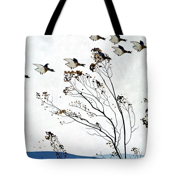 Canadian Geese Over Brown-leafed Trees Tote Bag