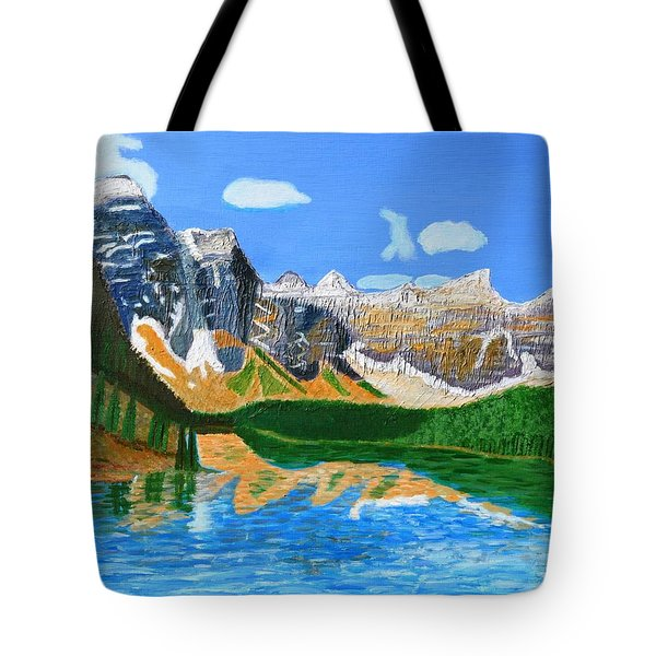 Tote Bag featuring the painting Canadian Mountains And Lake  by Magdalena Frohnsdorff