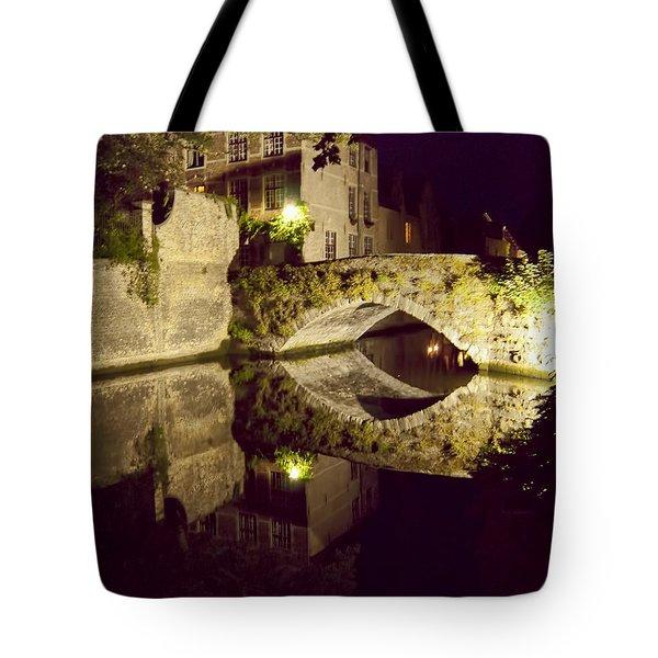 Canal Bridge Reflection Tote Bag