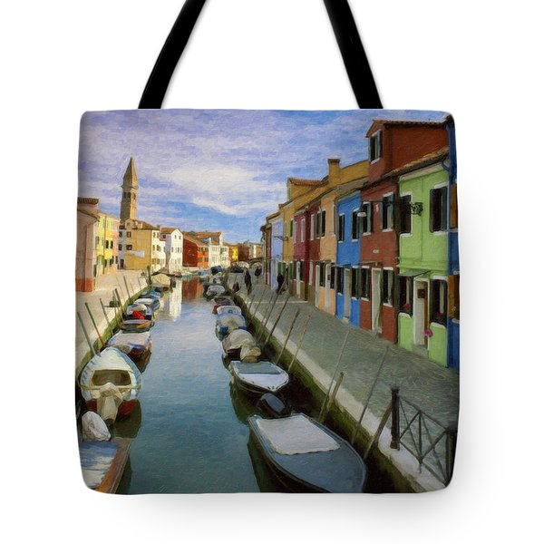 Canal Burano  Venice Italy  Tote Bag
