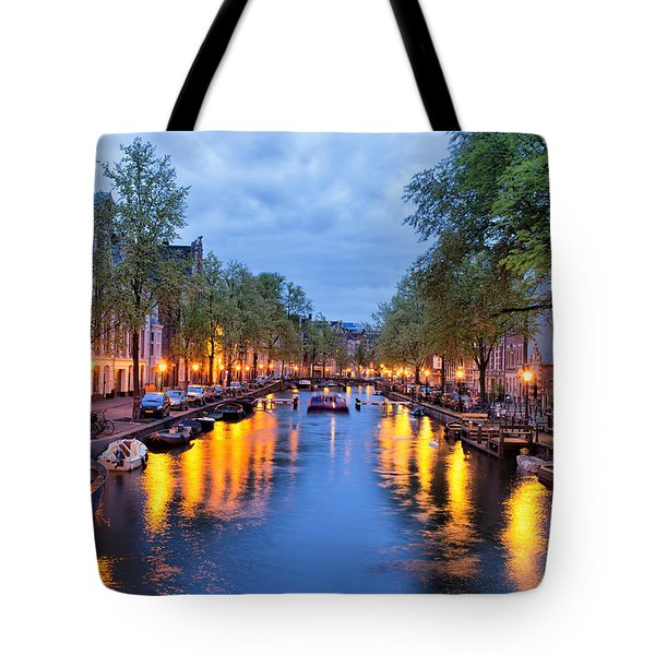 Canal In Amsterdam At Dusk Tote Bag