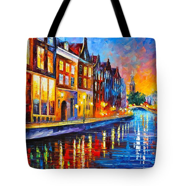 Canal In Amsterdam Tote Bag by Leonid Afremov