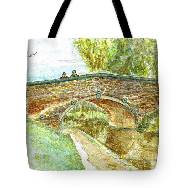 Tote Bag featuring the painting Canal-bridal Path In Staffordshire  by Teresa White