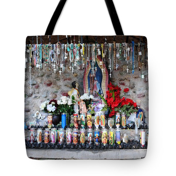 Candels And Rosaries Tote Bag by Carla P White
