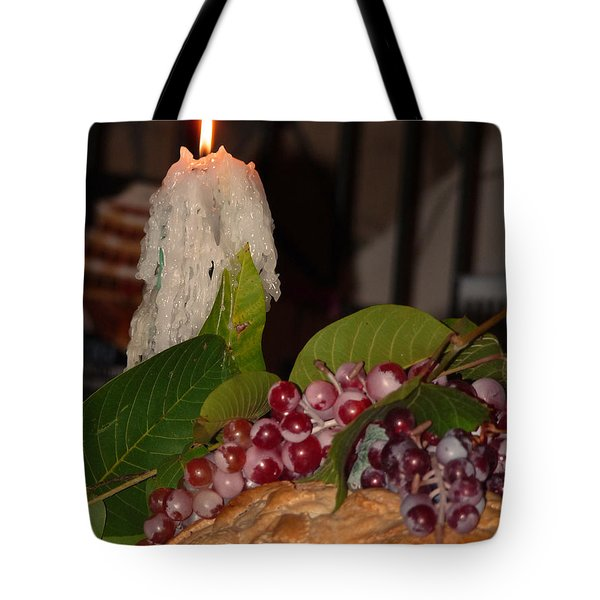 Candle And Grapes Tote Bag