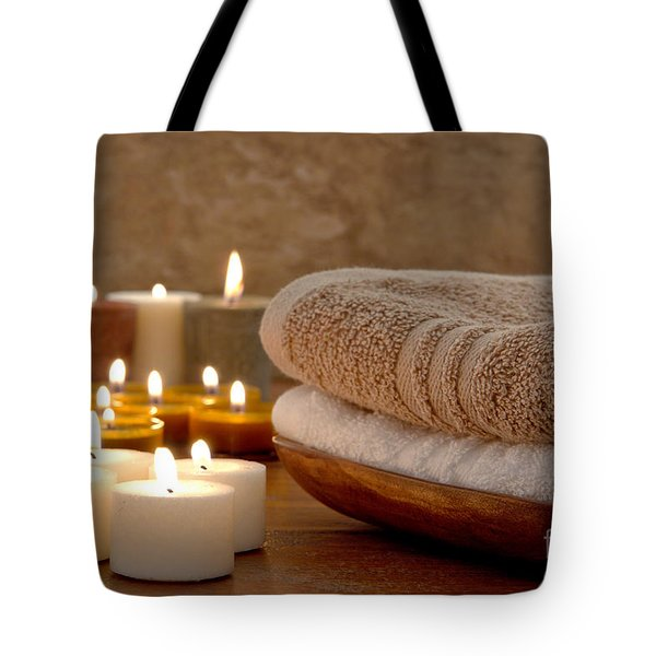 Candles And Towels In A Spa Tote Bag