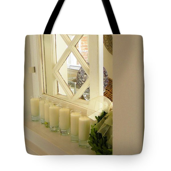 Candles And Wicker And Window Tote Bag by Jean Goodwin Brooks