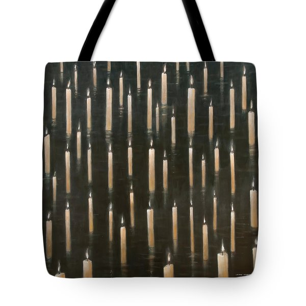 Candles On The Lake Udaipur India Tote Bag by Lincoln Seligman
