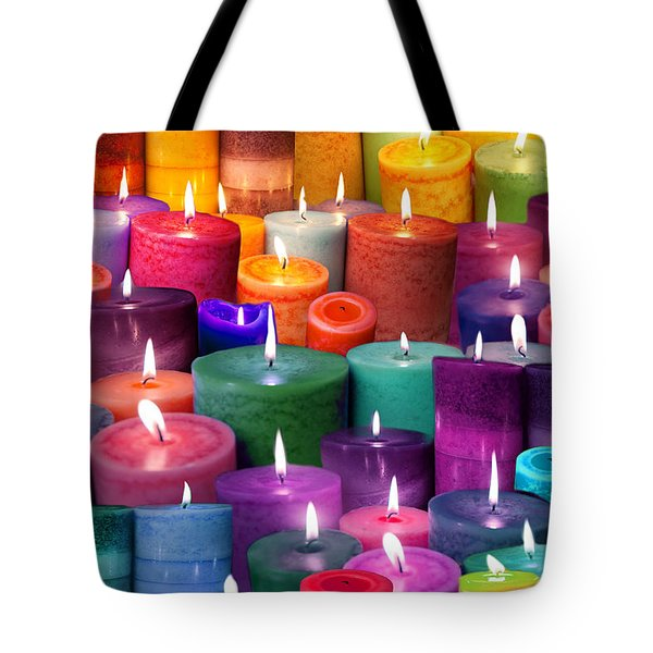 Candles Rainbow Colours Tote Bag by Alixandra Mullins