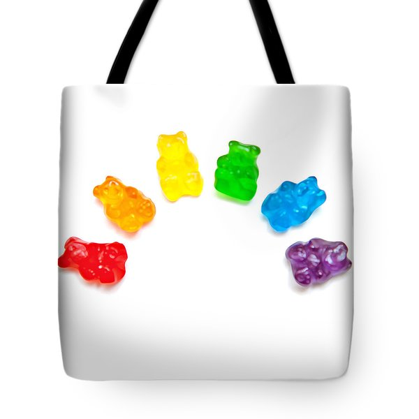 Tote Bag featuring the photograph Candy Bears by Art Block Collections