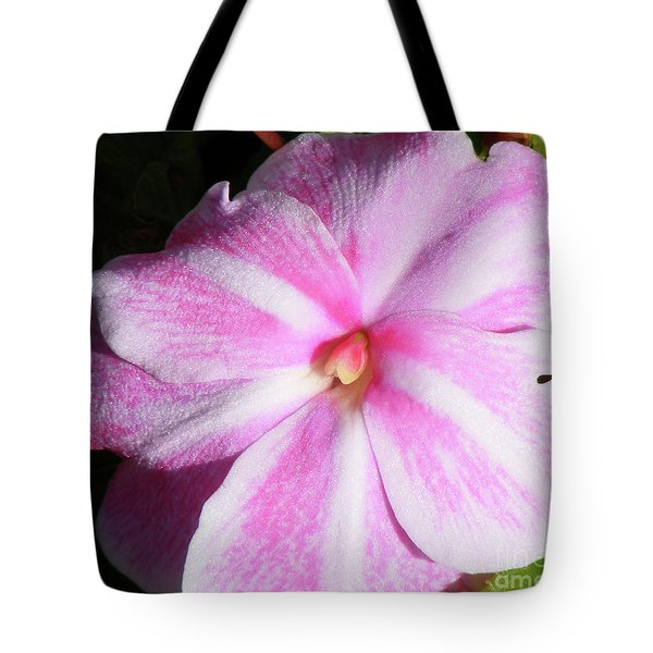 Candy Cane Impatiens Tote Bag by Barbara Griffin
