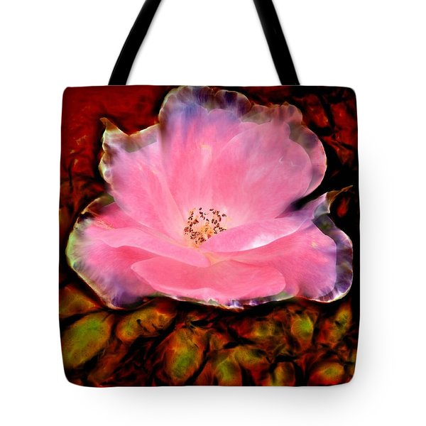 Candy Pink Rose Tote Bag by Lilia D