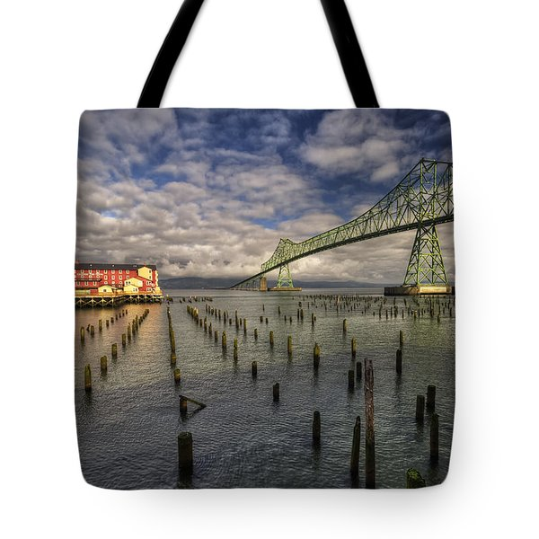 Cannery Pier Hotel And Astoria Bridge Tote Bag