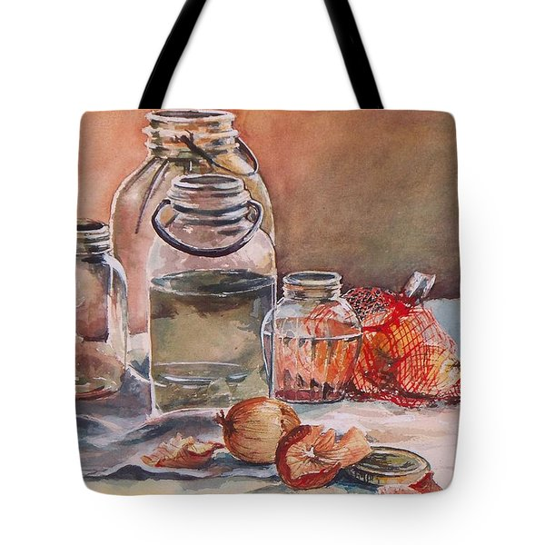 Tote Bag featuring the painting Canning Jars And Onions by Joy Nichols